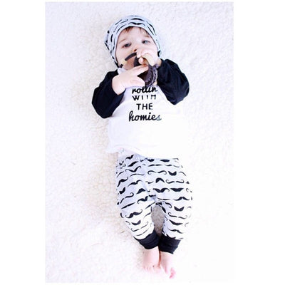 2PCS Newborn Baby Boys Spring Autumn Cute Outfits T-shirt Top + Pants Kids Clothing Sets 0-4Y