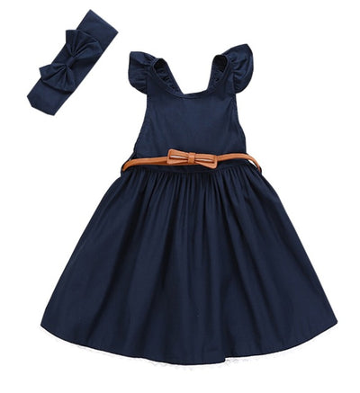 2Ppcs/Set ! Flower Girls Princess Dress Kids Baby Ruffle Party Pageant Dress + Bow-knot Headband Clothes With Belt