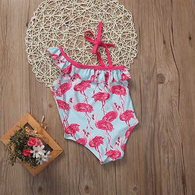 Summer Girls Flamingo Swimsuit One-Piece Swimming Tank Bathing Suit Baby Kid Children