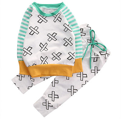Newborn Baby Boy Girls Long Sleeve Tops +Long Pants fashion baby boys clothes