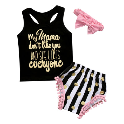 3Pcs/Set !Toddler Kids Baby Girl Sleeveless Letter Printed Tops+Striped Tassel Shorts+ Headband 3PCS Sun-suit Outfit Clothes