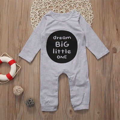 Newborn Toddler Baby Boys Kids Cotton Long Sleeve Romper Big Dream Jumpsuit Outfits Clothes