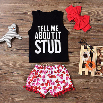 3PCS/Set Toddler Kid Baby Girls Clothes Vest Letter Printed Tank Tops+Tassel Shorts +Headband Outfits Set