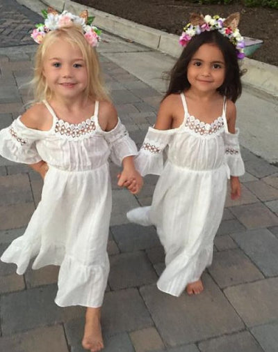 Flower Girls Off Should White Princess Dress Kids Baby Party Wedding Pageant Lace Dresses Clothes