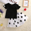 Girls clothes summer Baby Girls Black Short Sleeve T Shirt+ Floral Skits Dress 2pcs Clothes Outfits Set