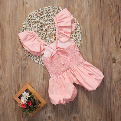 Baby Girls Lace Floral Romper Back cross Jumpsuit Sun suit