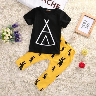 2pcs Newborn Kids Baby Boy children clothing set Black short Sleeve T-shirt Tops+Yellow Pants Outfits Set