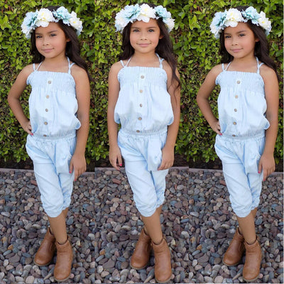 Kid Baby Girl Outfit  Button Tank Top + Pants Clothes Sun suit