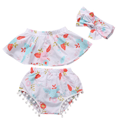 3Pcs/Set Newborn Baby Girls Floral Sleeveless Tops+ Tassel Shorts Pants Headband 3PCS  Sun-suit Outfits Clothes