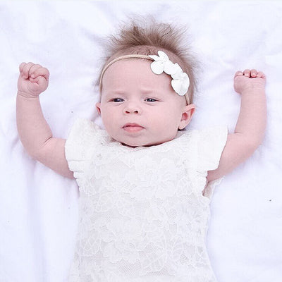 Summer Newborn Baby Girl White Lace Floral Romper zipper Jumpsuit Playsuit Outfits Sunsuit