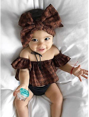3pcs Newborn Baby Girl Clothes Off Shoulder Tops Plaid Romper +Shorts +Bow-knot Headband Sets Sun-suit Outfit Clothes