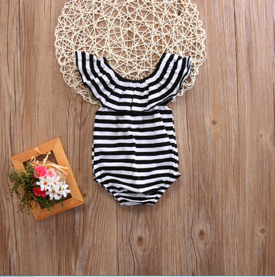 Newborn Baby Girl Striped Romper Lotus collar Jumpsuit Clothes Outfits