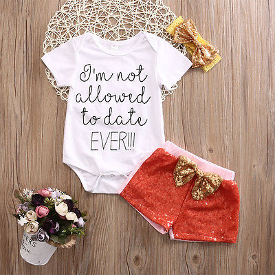 Baby Girl Short Sleeve Letter Printed Rompers Tops+Sequin Pants +Headband Outfit Set Clothes