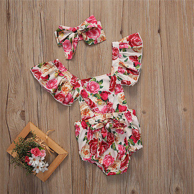 2Pcs/Set Toddler Infant Baby Girls Floral Butterfly sleeves Romper Jumper +Headband Sunsuit Outfits Clothes