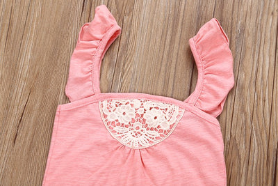 2Pcs/Set Lace Newborn Infant Baby Girls Lace Romper Tops+ Floral Shorts Pants Outfits Set Clothes