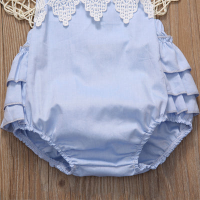 Newborn Infant Baby Girls Sky Blue Sleeveless Lace Romper Halter Backless Jumpsuit Outfits Clothes