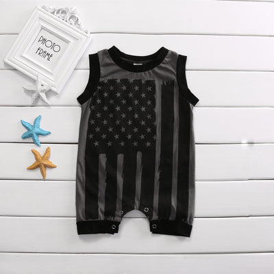 Summer Newborn Toddler Kids Baby Boys Girls Sleeveless Striped Flag Romper Jumpsuit Clothes Outfits