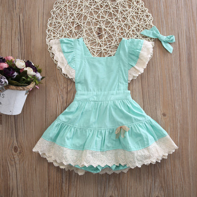 Summer Baby Kids Girl Lace Butterfly sleeves Floral Dress Party Wedding Dresses Sundress