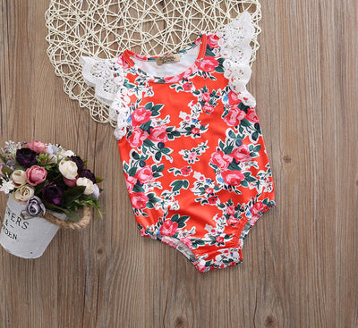 2Color Newborn Toddler Infant Baby Girl Floral Lace Sleeve Romper Cotton Jumpsuit Outfit Sun-suit Clothes