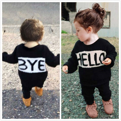 Baby Boy Girl Clothes Set Kids 2Pcs Toddler Baby Girls Boys Tops T-shirt Pants Outfits Clothes Set Suit