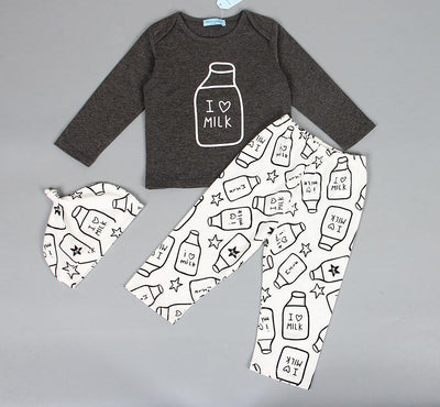 Baby Boy Clothes Long Sleeve Letter Print T-shirt+Pants+Hat Kids Clothing Sets