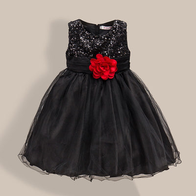 6b570249fe3 New Fashion Sequin Flower Dress Party Birthday Wedding Princess Toddler  Baby Girls Clothes Children Kids Lycra
