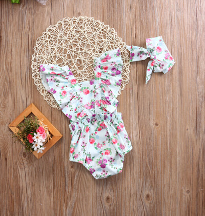 2Pcs/Set Newborn Infant Baby Girl Button Floral Romper Back cross Jumpsuit +Headband Sun-suit Clothes 0-24M