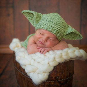 Handmade Knitted Baby Star Wars Yoda Costume Outfit born Photography Props