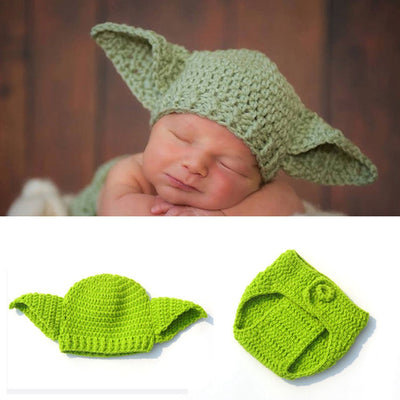 Handmade Knitted Baby Star Wars Yoda Costume Outfit Newborn Photography Props