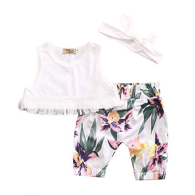 Summer Cute Newborn Baby Girl Clothes Tassel Sleeveless Tops +Floral Pants +Headband Outfit 3 PCS Sets