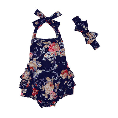 Baby Girl Infant Toddler Halter Rose Flower Lace Romper Jumpsuit Sleeveless Backless Sun suit Clothing
