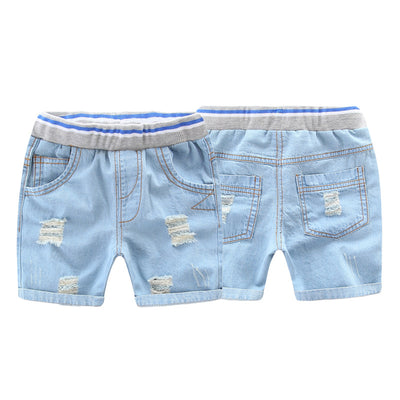 Baby boys girls sky blue shorts kids cotton trousers denim jeans for children high quality trousers
