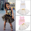 Kids Girls Clothing Set Kid Summer Sleeveless Tank Top Lace Polka Dot Mini Skirts Clothes