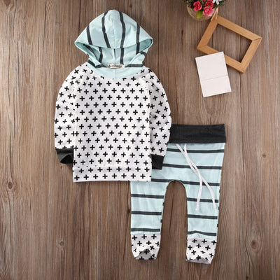 2PCS Newborn New Fashion Baby Boys Girl Hooded Tops Sweatshirt + Pants Outfit  newborn baby boy clothes sets