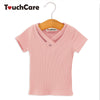 Short Sleeve Solid Baby Girl T-shirts Hollow Out O-neck Knitted Cotton Top Tees Blouse Baby Girls T Shirt