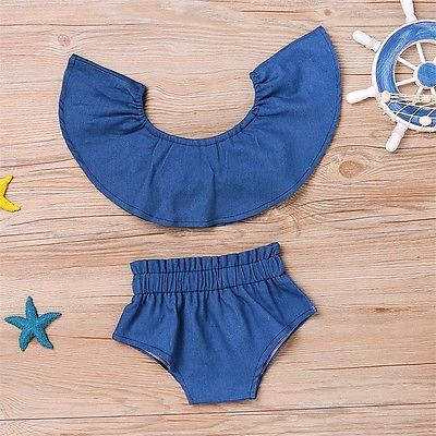 Summer Fashion Denim Newborn Toddler Baby Girl Off Shoulder Crop Tops+Shorts Outfit Clothes Set
