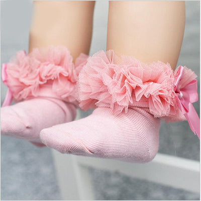 Fashion Baby Girls Kids Princess Bow knot Sock Lace Ruffle Frilly Trim Cotton Ankle Socks