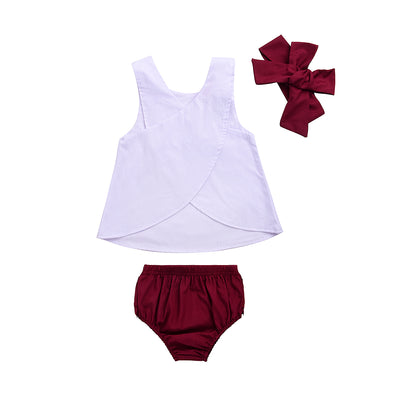 3pcs/Set ! Infant Toddler Newborn Kids Baby Girl Pure White Back cross Vest+Shorts Pants+Headband Clothes Outfit