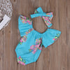 Cute Newborn Baby Girl Short Sleeve Romper + Headband Outfits Floral Sun suit Clothes