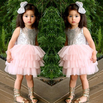 Baby Girl Sequins Dress Bow Lace Tulle Party Gown Formal Backless Party wedding Dresses