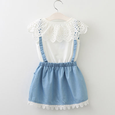 3b089a2a59d97 Girls Dresses New girls cute dress,white belt denim dress sleeveless cotton  dress lovely girls
