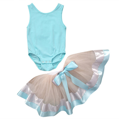 Kid Baby Girls Tops Pure Color Sleeveless Romper+ Lace Cake Skirt Dancing Clothes Outfits