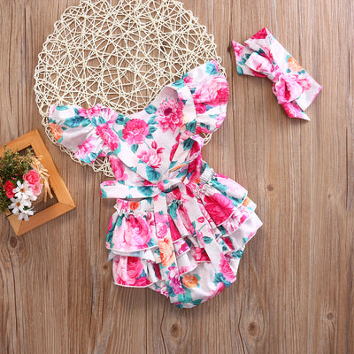 2Pcs/Set Newborn Infant Baby Girls Floral Back cross Romper Jumpsuit One-Piece Sun-suit +Headband Clothes 0-2T