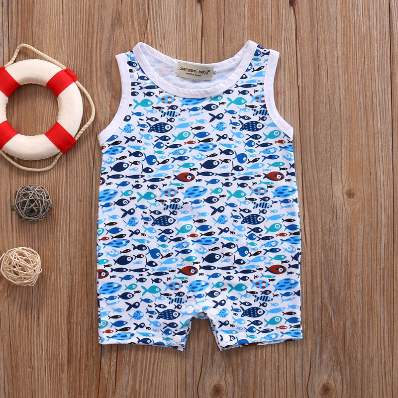a4a48fa58 Summer Shark Pattern Newborn Baby Boy Girl Romper Sleeveless Cotton ...
