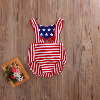 Newborn Infant Baby Girls Hollow Tassel Romper five-star stripes Jumpsuit Outfits Sun suit Clothes