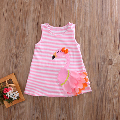 Summer Toddler Baby Girls Clothing Sleeveless Pink Striped Dress 3D swan Party Dress Clothing