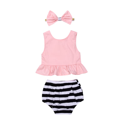 3pcs/Set Toddler Newborn Baby Boy Girl Sleeveless Pink Top + Striped Short +Bow-knot Headband Clothes Outfits Set