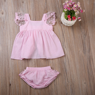 2Pcs/Set Summer Newborn Baby Girls Toddler Pink Lace Bow-knot Vest Tops + short pants Clothes Outfits Set