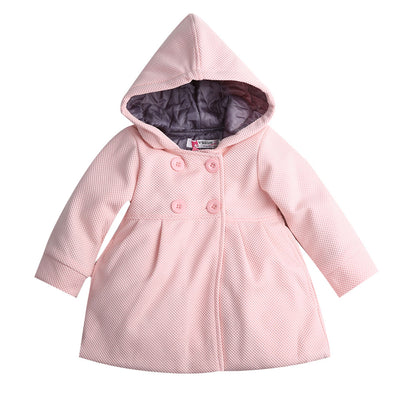 Autumn Winter Baby Girl Toddler Warm Fleece Winter Double-breasted Snow Jacket Suit Clothes Pink Red
