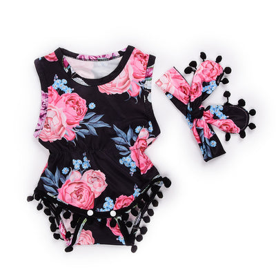 Summer Newborn Toddler Baby Girl Floral Tassle Ball Romper Jumpsuit +Headband Infant Clothes Outfit Sunsuit